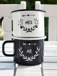 Mr and Mrs Mugs Coffee Mugs Set Couples Mugs First Christmas | Etsy Wedding Mugs, Best Wedding Gifts, Gift Wedding, Coffee Mug Sets, Mugs Set, Rustic Mugs, Enamel Cookware, Oven Canning, Couple Mugs