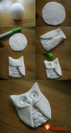Makes me think of my sisiter :) DIY: Clay Owl. Will use air dry clay or salt dough. Owl Crafts, Cute Crafts, Crafts Cheap, Butterfly Crafts, Animal Crafts, Creative Crafts, Easy Crafts, Christmas Owls, Christmas Crafts