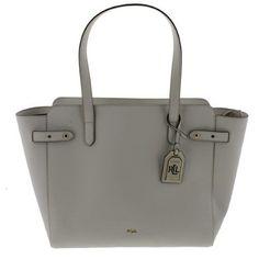 62ab486da27 Lauren Ralph Lauren Womens Harper Parker Leather Shopper Tote Handbag,  Size  Large, White