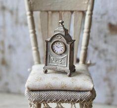 Dolls House Miniature Shabby Mantle Clock