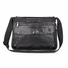 1fe814f360 Horiya Men s Genuine Leather Satchel Messenger Briefcase Shoulder Sling Bag  for Laptop up to 16 Inches(Black)