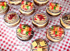 tutorial: mini BBQ grill cupcakes with kabobs and burgers made from gummy bears and candy melts--TOO CUTE!!