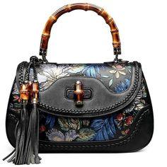 Fengyaqiandai Vintage Style 6029 Classic Embossed Ladies Handmade... (235 HRK) ❤ liked on Polyvore featuring bags, handbags, handbag satchel, handbags purses, leather satchel, leather purses and man bag