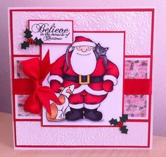 Made using Embossalicious embossing folder, Snowman & Father Christmas Stamps, Spectrum Noir pens, Father Christmas CD Rom for Paper, ribbon jewels & holly punch from my stash. http://angel4031.blogspot.co.uk/