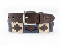 Brown leather polo belt, BURGHLEY navy/cream/pale blue with burgundy stripe…