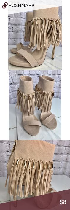 AMI CLUBWEAR Nude Fringe Ankle Strap Faux Suede 💎Worn only once. Sexy & stylish heels. No box. Purchased from Amiclubwear.com NO OFFERS PRICE IS FIRM FOR THIS LISTING! 💗 💎Faux Suede upper with an ankle strap with a fringe trim and gold toned beaded detail 💎gold tone back zipper closure 💎strap vamp and open toe, smooth lining, and cushioned footbed. 💎Approximately 5 inch heels and 1 inch platforms. ❓ Any questions feel free to ask! ami clubwear Shoes Heels