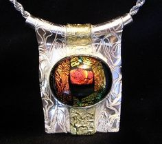 PMC Silver Clay, Gold Accented, Dichroic Class Cabochon Necklace on Etsy, $160.00