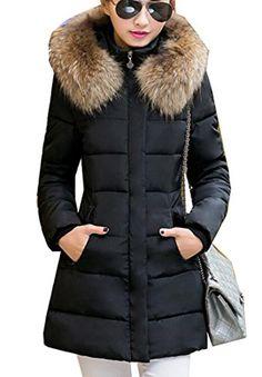 3ecc848a15e OULIU Women s Winter Quilted Down Puffer Coat With Faux Fur Hood Black XS