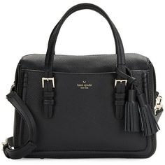 Kate Spade New York Pebbled Leather Briefcase (6.415 ARS) ❤ liked on Polyvore featuring bags, briefcases, handbags, purses, black and sac