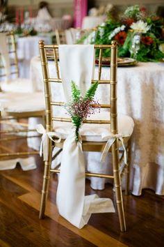 fern and flower chair decor - photo by Rachel Gomez Photography