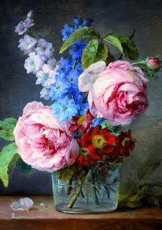 Fleurs dans un vase de verre », Anne Vallayer-Coster, 1744-1818, huile sur toile