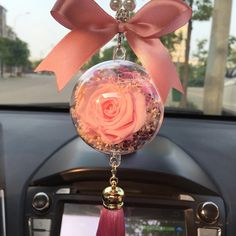 Hanging Car Charm Ornaments-Perserved fresh Pink flower in Glass Mirror Pendant - Girly Car Accessories For Mini Cooper/clubman/countryman. Pink Range Rovers, Small Luxury Cars, Car Accessories For Girls, Vehicle Accessories, Car Hacks, Cute Cars, Do It Yourself Home, Lamborghini, Car Detailing
