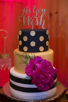 Dots and Stripes wedding cake  Glamorous Old Hollywood Wedding by Stephanie  Dishman Photography   KnotsVillaOld Hollywood cake   The Wedding Assistant Weddings   Pinterest  . Old Hollywood Wedding Cakes. Home Design Ideas
