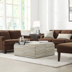 INSPIRE Q Montrose Diamond Impressions Storage Cocktail Ottoman