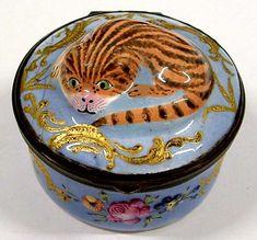 Patch box with striped cat design, Bilston, 1770-80