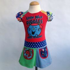Upcycled girls dress little miss giggles size 2T/3T by dressme, $50.00