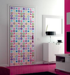 Lovely Checkered Icon Door Print Design for Girls Room