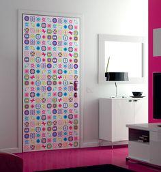 Lovely Checkered Icon Door Print Design for Girls Room