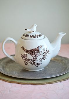 birds of a feather ceramic teapot