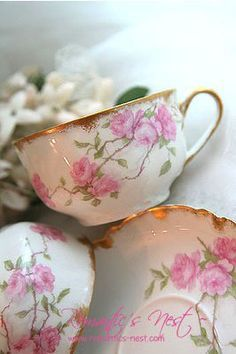Haviland Limoges- by Cris Figueired♥ Vintage China, Vintage Tea, Teapots And Cups, Teacups, China Tea Cups, My Cup Of Tea, China Patterns, Tea Cup Saucer, Vases