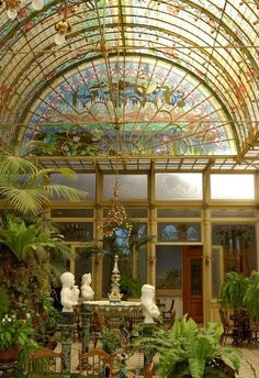 Beautiful Art Nouveau conservatory ~ Ursuline convent, near Antwerp in Onze-Lieve-Vrouw-Waver, Belgium. The stylish Art Nouveau hall for parties was used as a setting in various films. Art Nouveau Architektur, Art Nouveau Arquitectura, Architecture Art Nouveau, Interior Architecture, Interior And Exterior, Art Nouveau Interior, Garden Architecture, Building Architecture, Interior Garden
