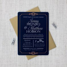 Blue and gold vintage wedding invitations http://bemyguest.co.nz/archives/item/elegant-navy-and-gold-wedding-invitation/
