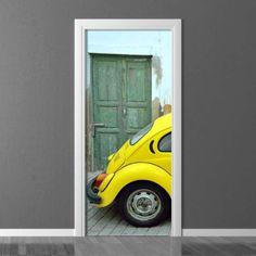 Wallpaper for door Wally Yellow Car, Door Wall, Retro Cars, Photograph, Room Decor, Doors, Wallpaper, Home, Photography