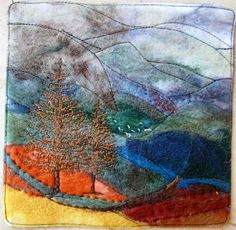 MIXED MEDIA: Landscape with cloth!