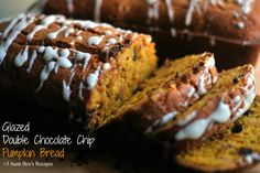 Glazed Double Chocolate Chip Pumpkin Bread  | Aunt Bee's Recipes