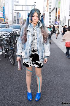 Acid Wash Jacket & Animal Print Skirt in Harajuku