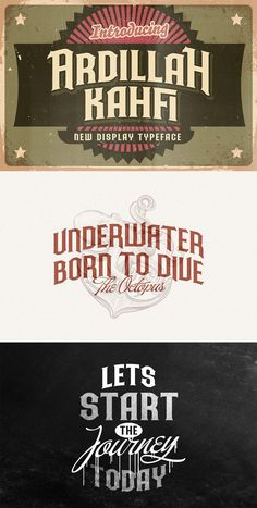 Ad: Ardilah Kafi is a unique, vintage and elegant decorative font with victorian style. Ardilah Kafi feels playfully nostalgic and delivers an incredible vintage aesthetic. Inspired by vintage tattoo design, Ardilah Kafi is an absolutely stunning and eye-catching typeface. This typeface will look truly outstanding in a wide range of modern and classic designs, with its romantic and bold formation, as well as its attention to detail. $25