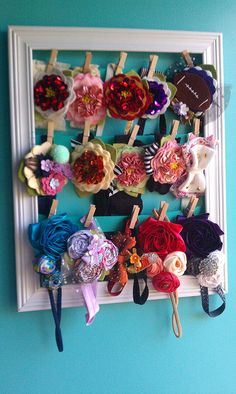 Fun way to store headbands and also have them serve as room decor :)