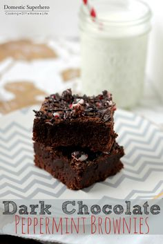 Dark Chocolate Peppermint Brownies are the perfect holiday dessert! Decadent dark chocolate paired with peppermint - so yum!