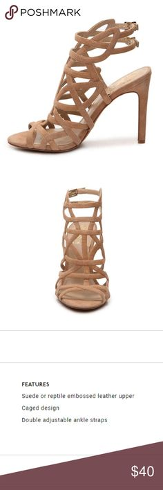NWOT Vince Camuto Kenna Sandals - 8 1/2 Never worn, still in box Vince Camuto Sandal. Beige/Tan Suede - Size 8 1/2 The Kenna suede sandal has a caged design and chic ankle straps for a high end look that wows! Vince Camuto Shoes Sandals