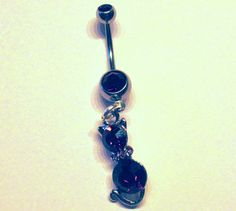 Navel Belly Button Ring Purple Cat Barbell Naval