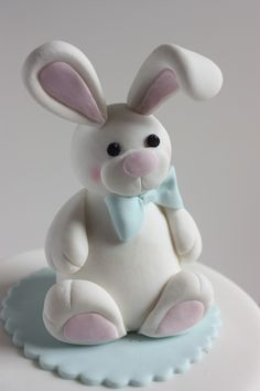 Bunny Cake Detail Baby Christening Cakes, Baby Boy Cakes, Baby Shower Cakes, Fondant Rabbit, Rabbit Cake, Fondant Toppers, Fondant Cakes, Cupcake Cakes, Easter Bunny Cake