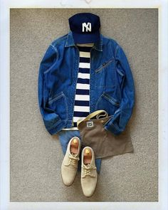 Today's Outfit. 70's #Lee 91-B #SaintJames #Ouessant #EbbetsFieldFlannels BaseBall Cap #RRL #OfficersChino #ArchivalClothing #PlainMusette #Alden Suede Dirty Bucks #outfitoftheday #outfitgrid #OOTD #DailyFashion #Cordinate #Vintage #Fashion...
