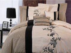 Amazon.com: Chezmoi Collection 7 Pieces Luxury Beige, Cream, and Black with Floral Linen Comforter Set / Bed-in-a-bag Queen Size: Home & Kitchen
