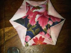 japanese folded patchwork - A different take on folding with a hexagon rather than a circle.