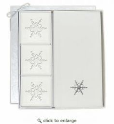 Courtesy Gift Set: Silver Snowflake 3 Bar Soap Gift Set with Towels (Scent: Verbena)