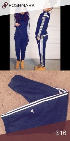 Adidas navy blue athletic pants Adidas navy blue athletic pants. Windbreaker material lightweight. Straight leg new without the tags perfect condition Adidas Pants Track Pants & Joggers