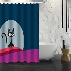 Multi-variations Cat Graphic Design Shower Curtain Cat Shower Curtain, Vibrant Colors, Curtains, Graphic Design, Bathroom, Washroom, Blinds, Vivid Colors, Full Bath