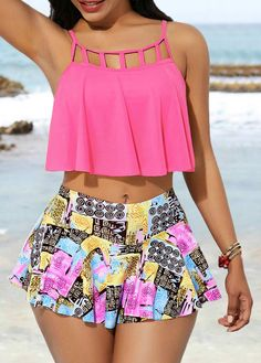Hot Pink Swimwear Top and High Waist Pantskirt Yellow Tankini, Tankini Top, Black Tankini, Bikini For Women, Swim Dress, Bikini Fashion, Monokini, One Piece, Clothes