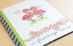 Flamingo Together - Distress Ink Watercolor Technique