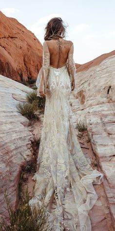 Rustic Wedding Dresses For Inspiration ★ rustic wedding dresses sheath with long sleeves backless train ruedeseine Boho Wedding Dress With Sleeves, Fancy Wedding Dresses, Country Wedding Dresses, Long Sleeve Wedding, Rustic Dresses, Bride Dresses, Maternity Dresses, Sheath Wedding Gown, Backless Wedding