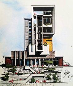 Новости Architecture Concept Drawings, Architecture Student, Futuristic Architecture, Architecture Plan, Building Sketch, Building Facade, Building Design, Building Painting, Instagram
