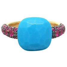 New Pomellato Capri 18k Gold Ruby Turquoise Ring