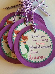 Little Mermaid Ariel Custom Birthday Party Thank you Gift Tags | DivineDecorations - Seasonal on ArtFire