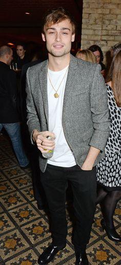 British actor Douglas Booth wearing Burberry at the Harvey Weinstein pre-BAFTA dinner in London