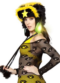 Light Up Faux Fur Glove Black Yellow Are Perfect On Any Rave Costume!Shop this now #raveclothing #rave #edm #edc #raveoutfits #gloves